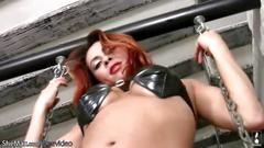 masturbation, closeup, fetish, hd, latex, redhead, tranny