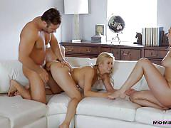 milf, blonde, threesome, babe, big cock, deepthroat, pussy licking, from behind, reverse cowgirl, moms teach sex, nubiles porn, alexis fawx, chad white, brittany shae