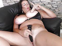 big ass, mature, solo, masturbation, huge tits, brunette, on couch, dildo sucking, mature nl, lulu x