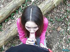 She sucks his dick for cash in the woods