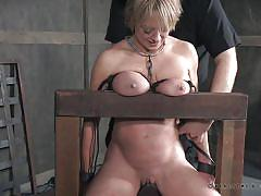 milf, blonde, caning, bdsm, big tits, tits torture, device bondage, leather hood, real time bondage, dee williams