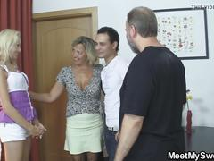 Euro blonde involved into family 3some