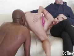 Blonde wife black cock creampie