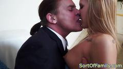 Bigtitted milf joins taboo trio for fucking