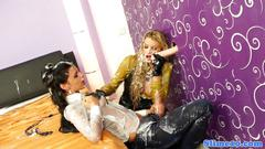 Glam babes straponfucking and covered in cum