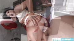 Tiny amateur morgan lee gives a blowjob and gets hammered hard