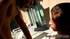 Hot gay twink couple playing naked outdoors and have fetish for pissing
