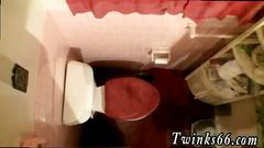 Hidden cam filming hot naked twinks pissing in a toilet