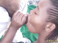 Massive facial on a african babe