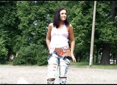 Public nudity scene with naked sexy nudist brunette