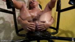 Frisky cock girl spreads anal hole wide in closeup and cums
