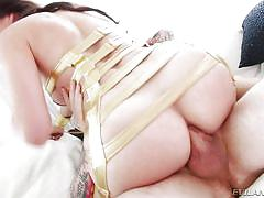 Black-haired tranny adores deep anal fucking