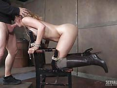 Submissive blonde in boots squirts during bondage penetration
