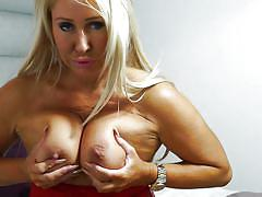 Hot mature blonde teasing around with big titties