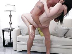 Slim brunette milf spreading her legs for his thick cock