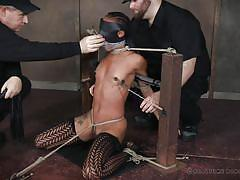threesome, bdsm, babe, ebony, interracial, vibrator, breathplay, blindfolded, nipple clamps, ball gagged, rope bondage, real time bondage, nikki darling