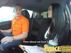 Fake driving school busty examiner seduces young man