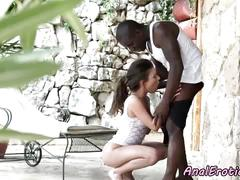 Young eurobabe loves interracial anal sex