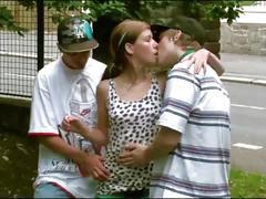 Cute teen girl alexis crystal fucked on public street by 2 guys