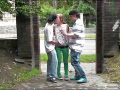 Cute teen girl alexis crystal fucked on public street by 2 guys