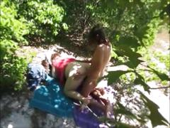 Hidden cam caught milf having sex outside & getting cumshot on back