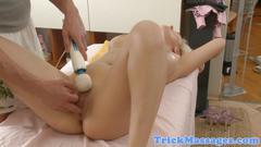 Busty babe jizzed on ass by masseur