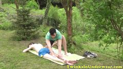 Cum spraying twink wanked off outdoors