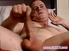 Amateur twink plays with his big ramrod solo
