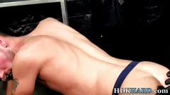 Barebacked hunk drips cum blowjob