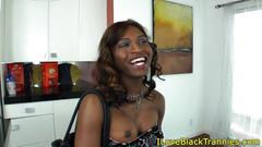 Black tgirl tugging during analsex
