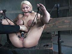 milf, blonde, bdsm, domination, big boobs, fetish, mouth gag, device bondage, rope bondage, pussy clips, infernal restraints, kenzie taylor
