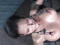 milf, big tits, domination, fetish, tits torture, weight on tits, nipple clamps, device bondage, infernal restraints, syren de mer