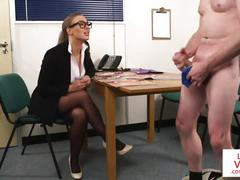 Stockinged cfnm voyeur instucts jerking guy