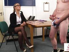 stockings, glasses, lingerie, highheels, office, voyeur, british, business, euro, femdom, cfnm, english, joi, instructions, spex
