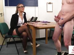 Stockinged cfnm voyeur instucts jerking guy