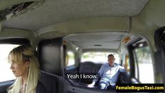 Busty british cabbie doggystyled on backseat movie