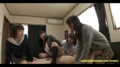 group, japanese, schoolgirl, cumshot, gangbang, jav, school, uniform