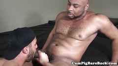 Interracial barebacking session for hunk