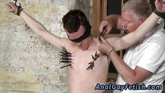 Skinny twink bitch has bondage sex with his mature master