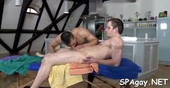 Oiled gay boys fuck each other on the massage table