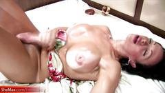 Shedoll finger fucks her butt during hardcore masturbation