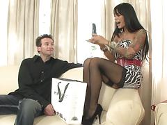 Sexy angelina valentine sticks a dildo into her mans ass