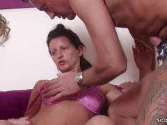 German milf seduce young couple to fuck in threesome