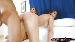 Hot milf and teen slut sharing a hard cockon the couch