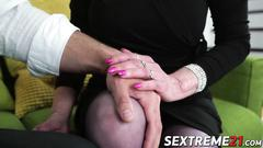 Lucky horny granny pixie drilled on sofa by robs hard cock