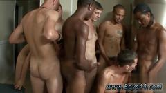 Group of horny gay men in a fantastic gay gangbang