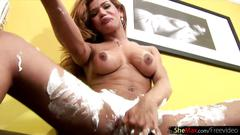 Big boobs shegirl is stripping and shaving her sexy thighs