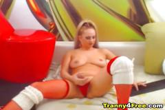 Horny hot tranny faps her cock