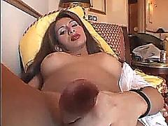 Stunning shemale from brazil strokes and cums