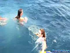 Three sexy babes enjoys swimming in the middle of the sea